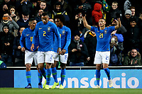 Richarlison of Brazil and Everton is congratulated after scoring the first goal during Brazil vs Cameroon, International Friendly Match Football at stadium:mk on 20th November 2018