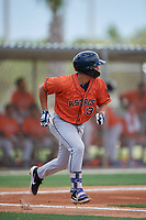 GCL Astros Jose Mendoza (13) runs to first base during a Gulf Coast League game against the GCL Marlins on August 8, 2019 at the Roger Dean Chevrolet Stadium Complex in Jupiter, Florida.  GCL Marlins defeated GCL Astros 5-4.  (Mike Janes/Four Seam Images)