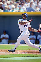 Texas Rangers Julio Franco (14) during Spring Training 1993 at Charlotte County Stadium in Port Charlotte, Florida.  (MJA/Four Seam Images)