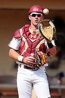 Boston College Eagles catcher Stephen Sauter (9) prior to a game versus the Hartford Hawks at Pellagrini Diamond at Shea Field on May 9, 2015 in Chestnut Hill, Massachusetts.  (Ken Babbitt/Four Seam Images)