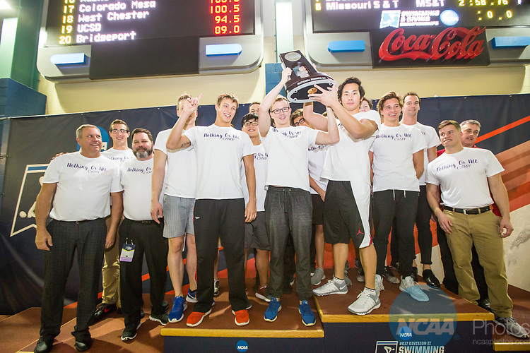 BIRMINGHAM, AL - MARCH 11: The Drury University Men's team took second place with 350 points during the Division II Men's and Women's Swimming & Diving Championship held at the Birmingham CrossPlex on March 11, 2017 in Birmingham, Alabama. (Photo by Matt Marriott/NCAA Photos via Getty Images)