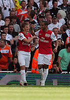 Pictured L-R: Andrey Arshavin of Arsenal celebrating his goal with Theo Walcott. Saturday 10 September 2011<br />