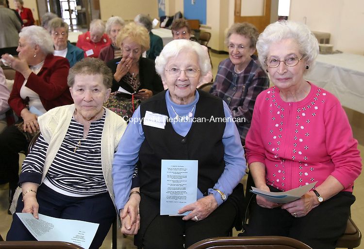 WATERBURY, CT 4/10/07- 041007BZ08- From left- Mildred Kaercher, of Watebury, Dorothy Reynolds, of Waterbury, and Janet Mitchell, of Wallingford, <br /> during a meeting celebrating the 118th birthday of the Waterbury Women's Club Tuesday.   The event was held at the First Congregational Church on West Main Street <br /> Jamison C. Bazinet Republican-American