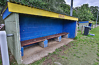 General view of the Home Team dugout ahead of the FA Cup match between Ampthill Town FC and Risborough Rangers FC, who play their inaugural match in the competition at Woburn Street, Ampthill, England on 15 August 2015. Photo by David Horn.