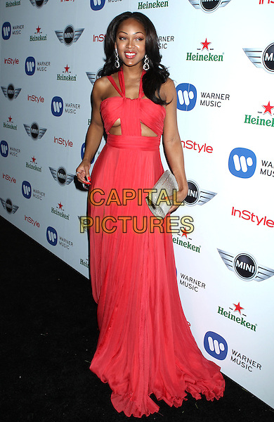 Meagan Good.Warner Music Group 2013 Grammy Celebration held at The Chateau Marmont, West Hollywood, California, USA..February 10th, 2013.full length red pink dress under boob cleavage silver clutch bag cut out away.CAP/ADM/RE.©Russ Elliot/AdMedia/Capital Pictures.