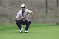 Nicolas Colsaerts (BEL) on the 14th green during Saturay's Round 3 of the 2014 BMW Masters held at Lake Malaren, Shanghai, China. 1st November 2014.<br /> Picture: Eoin Clarke www.golffile.ie