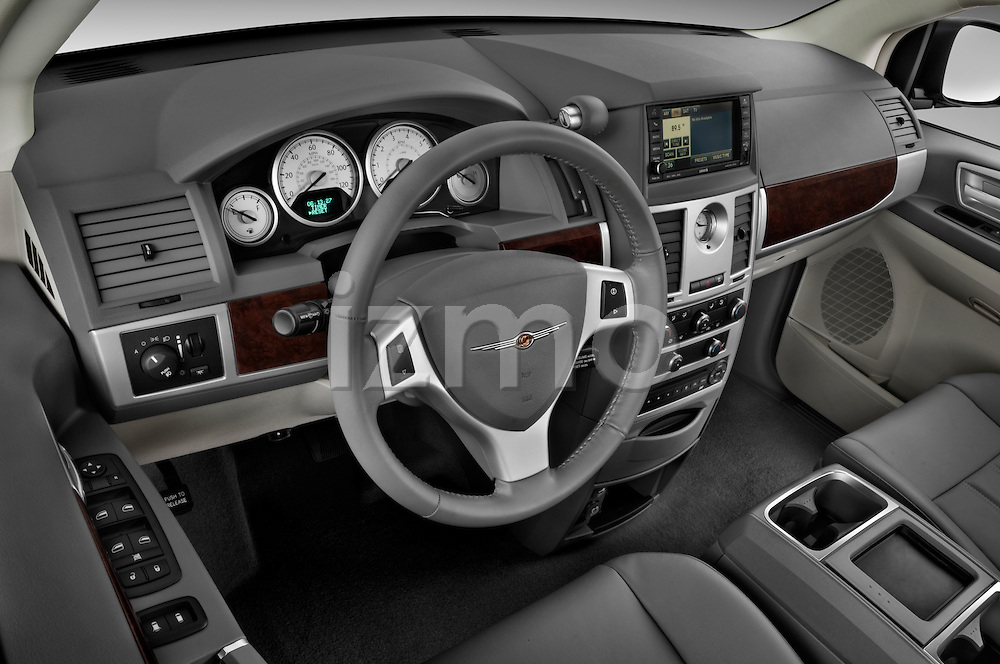 High angle dashboard view of a 2010 Chrysler Town and Country Touring