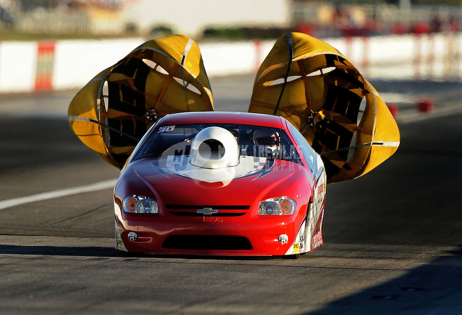 Sept. 4, 2010; Clermont, IN, USA; NHRA pro stock driver Steve Schmidt during qualifying for the U.S. Nationals at O'Reilly Raceway Park at Indianapolis. Mandatory Credit: Mark J. Rebilas-