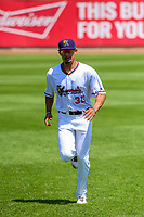 Cedar Rapids Kernels shortstop Royce Lewis (30) warms up in the outfield prior to a Midwest League game against the Clinton LumberKings on May 28, 2018 at Perfect Game Field at Veterans Memorial Stadium in Cedar Rapids, Iowa. Clinton defeated Cedar Rapids 4-3. (Brad Krause/Four Seam Images)