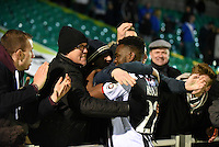 Grimsby Town fans celebrate on the final whistle during the Vanarama National League match between Eastleigh and Grimsby Town at The Silverlake Stadium, Eastleigh, Hampshire on Nov 21, 2015. (Photo: Paul Paxford/PRiME)