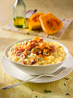 Roast Butternut squash on saffron risotto