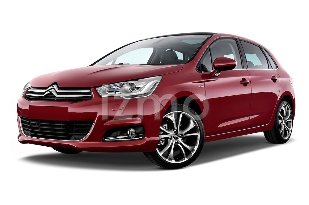 Low aggressive front three quarter view of a 2013 Citroen C4 Exclusive 5 Door Hatchback 2WD