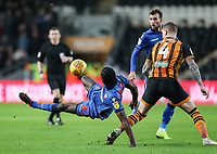 Bolton Wanderers' Clayton Donaldson competing with Hull City's Jordy de Wijs<br /> <br /> Photographer Andrew Kearns/CameraSport<br /> <br /> The EFL Sky Bet Championship - Hull City v Bolton Wanderers - Tuesday 1st January 2019 - KC Stadium - Hull<br /> <br /> World Copyright © 2019 CameraSport. All rights reserved. 43 Linden Ave. Countesthorpe. Leicester. England. LE8 5PG - Tel: +44 (0) 116 277 4147 - admin@camerasport.com - www.camerasport.com