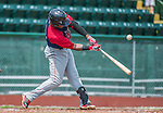 8 July 2014: Lowell Spinners outfielder Franklin Guzman in action against the Vermont Lake Monsters at Centennial Field in Burlington, Vermont. The Lake Monsters rallied in the 9th inning to defeat the Spinners 5-4 in NY Penn League action. Mandatory Credit: Ed Wolfstein Photo *** RAW Image File Available ****