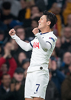 Son Heung-Min of Spurs celebrates scoring the opening goal during the UEFA Champions League group match between Tottenham Hotspur and Bayern Munich at Wembley Stadium, London, England on 1 October 2019. Photo by Andy Rowland.