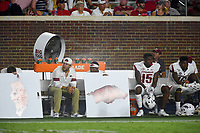 NWA Democrat-Gazette/CHARLIE KAIJO Arkansas Razorbacks players and staff watch the game during the fourth quarter of a football game, Saturday, September 7, 2019 at Vaught-Hemingway Stadium in Oxford, Miss.