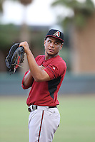 Ramon Hernandez (29) of the AZL Diamondbacks in the field at first base during a game against the AZL Dodgers at the Los Angeles Dodgers Spring Training Complex on July 3, 2015 in Glendale, Arizona. Diamondbacks defeated the Dodgers, 5-1. (Larry Goren/Four Seam Images)