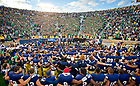Sept. 21, 2013; The football team sings the Alma Mater with the student section after the win over Michigan State.<br /> <br /> Photo by Matt Cashore