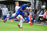 Dynel Simeu of Chelsea FC battles with Bradley Gibbings of Swansea City in action during the Premier League u18 match between Swansea City AFC and Chelsea FC at Landore Training Ground, Wales, UK. Tuesday 11th September 2018