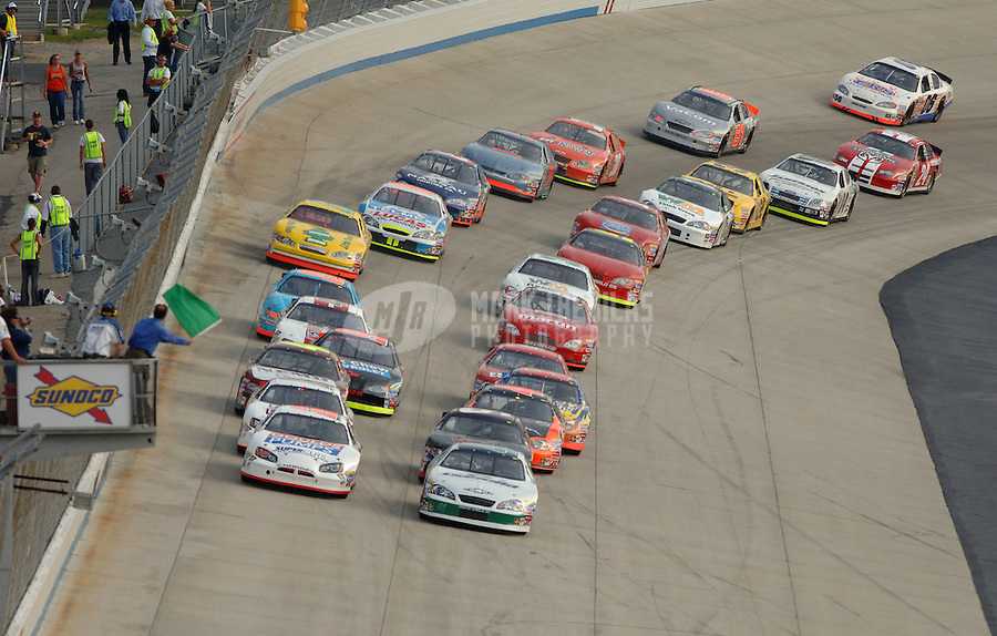 Sept. 22, 2006; Dover, DE, USA; The field of Nascar Busch East Series drivers take the green flag during the Sunoco 150 at Dover International Speedway. Mandatory Credit: Mark J. Rebilas