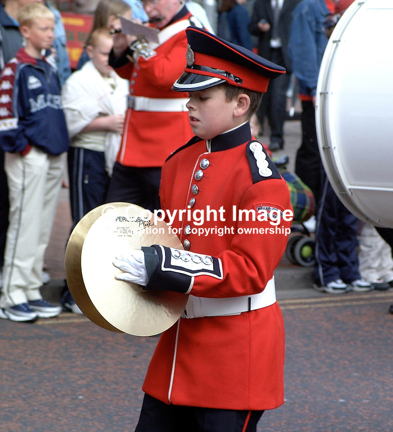 Young bandsman in Twelfth Parade in Belfast, N Ireland, UK, 200107122694.<br /> <br /> Copyright Image from Victor Patterson, 54 Dorchester Park, Belfast, UK, BT9 6RJ<br /> <br /> t: +44 28 90661296<br /> m: +44 7802 353836<br /> vm: +44 20 88167153<br /> e1: victorpatterson@me.com<br /> e2: victorpatterson@gmail.com<br /> <br /> For my Terms and Conditions of Use go to www.victorpatterson.com