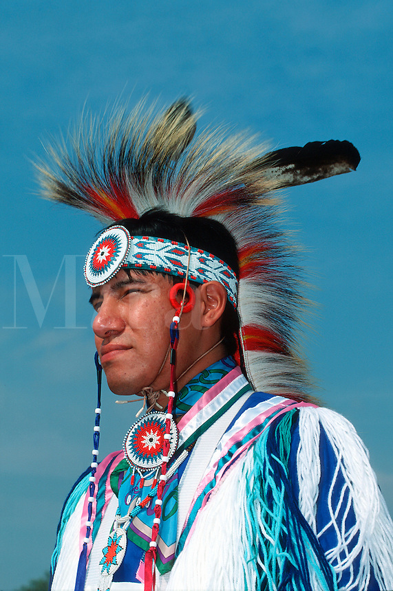Profile portrait of a male Native American Indian Fancy Dress Dancer.
