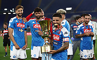 Napoli's Lorenzo Insigne holds the trophy at the end of the Italian Cup football final match between Napoli and Juventus at Rome's Olympic stadium, with closed doors, June 17, 2020. Napoli won 4-2 at the end of a penalty shootout following a scoreless draw.<br /> UPDATE IMAGES PRESS/Isabella Bonotto