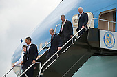 United States President Barack Obama, left, exits Air Force One with, from left,  U.S. Representative Suzanne M. Kosmas (Democrat of Florida), U.S. Senator Bill Nelson (Democrat of Florida), NASA Administrator Charles Bolden, and Apollo 11 Astronaut Buzz Aldrin after landing at the NASA Kennedy Space Center in Cape Canaveral, Florida on Thursday, April 15, 2010.  Obama visited Kennedy to deliver remarks on the bold new course the administration is charting to maintain U.S. leadership in human space flight. .Mandatory Credit: Bill Ingalls - NASA via CNP