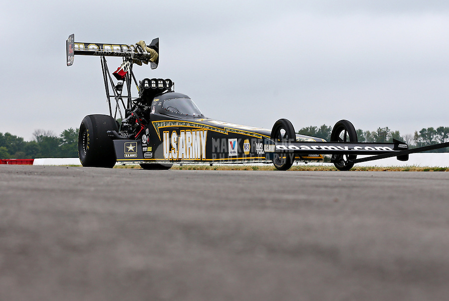 Sept. 2, 2013; Clermont, IN, USA: NHRA top fuel dragster driver Tony Schumacher on the return road during the US Nationals at Lucas Oil Raceway. Mandatory Credit: Mark J. Rebilas-