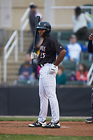 Bryce Bush (25) of the Kannapolis Intimidators looks to the third base coach for the signs during the game against the Rome Braves at Kannapolis Intimidators Stadium on April 4, 2019 in Kannapolis, North Carolina.  The Braves defeated the Intimidators 9-1. (Brian Westerholt/Four Seam Images)