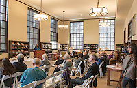 "Photo of Camille T. Dungy in the Jeffers Room of the Mary Norton Clapp Library, February 25, 2017. Dungy's keynote speech, ""The View From Hawk Tower Today: A Contemporary Environmental Poet Reflects on What Robinson Jeffers Has Meant to Her"", includes excerpts of her own work and speaks to the ways Robinson Jeffers' legacy influenced her environmental world view. Jeffers graduated from Occidental College in 1905, and became widely renown for his poetry about the central California coast.<br /> <br /> (Photo by Nick Harrington, Occidental College Class of 2017)"