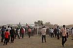 Sunday 5 december 2010 - Juba, Southern Sudan - The Juba Stadium after traditional wrestling matches ended, between Dinka wrestlers from Yirol East of Lake State and Mundari wrestlers from Terekeka County of Central Equatoria State. The matches attracted large numbers of spectators who sang, played drums and danced in support of their favorite wrestlers. The match organizers hoped that the sport would bring together South Sudan's many different tribes. Photo credit: Benedicte Desrus