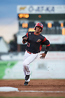 Batavia Muckdogs right fielder Jhonny Santos (13) running the bases during a game against the West Virginia Black Bears on June 26, 2017 at Dwyer Stadium in Batavia, New York.  Batavia defeated West Virginia 1-0 in ten innings.  (Mike Janes/Four Seam Images)