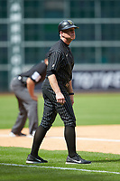 Vanderbilt Commodores head coach Tim Corbin (4) coaches third base during the game against the Sam Houston State Bearkats in game one of the 2018 Shriners Hospitals for Children College Classic at Minute Maid Park on March 2, 2018 in Houston, Texas. The Bearkats walked-off the Commodores 7-6 in 10 innings.   (Brian Westerholt/Four Seam Images)