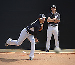 (L-R) Masahiro Tanaka, Joe Girardi (Yankees),<br /> FEBRUARY 22, 2015 - MLB :<br /> Manager Joe Girardi of the New York Yankees watches Masahiro Tanaka as he practices pitching in the bullpen during the New York Yankees spring training camp in Tampa, Florida, United States. (Photo by AFLO)