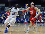 February 4, 2015 - Colorado Springs, Colorado, U.S. -    New Mexico guard, Hugh Greenwood #3, and Falcon, Trevor Lyons #20, battle for position during a Mountain West Conference match-up between the New Mexico Lobos and the Air Force Academy Falcons at Clune Arena, U.S. Air Force Academy, Colorado Springs, Colorado.  Air Force upsets New Mexico 53-49.
