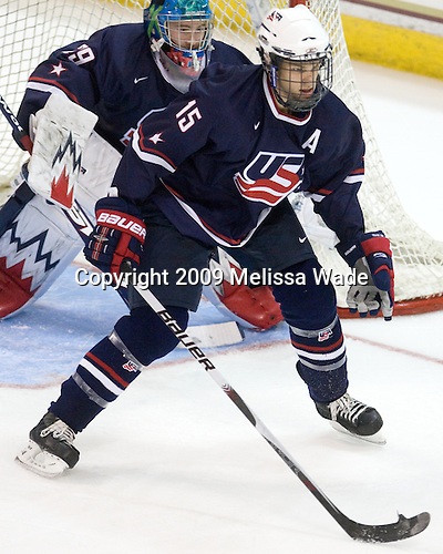 Andy Iles (US - 29), Jon Merrill (US - 15) - The Boston College Eagles defeated USA Hockey's National Team Development Program's Under 18 team 6-3 on Friday, October 9, 2009 at Conte Forum in Chestnut Hill, Massachusetts.