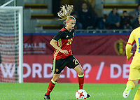 20171020 - LEUVEN , BELGIUM : Belgian Julie Biesmans  pictured during the female soccer game between the Belgian Red Flames and Romania , the second game in the qualificaton for the World Championship qualification round in group 6 for France 2019, Friday 20 th October 2017 at OHL Stadion Den Dreef in Leuven , Belgium. PHOTO SPORTPIX.BE | DAVID CATRY