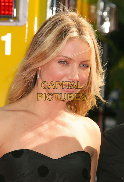 CAMERON DIAZ.2007 MTV Movie Awards held at the Gibson Amphitheater, Universal City, California, USA..June 3rd, 2007.headshot portrait black strapless.CAP/ADM/RE.©Russ Elliot/AdMedia/Capital Pictures *** Local Caption *** ...
