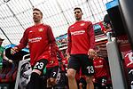 11.05.2019, BayArena, Leverkusen, GER, 1. FBL, Bayer 04 Leverkusen vs. FC Schalke 04 ,<br />  <br /> DFL regulations prohibit any use of photographs as image sequences and/or quasi-video<br /> <br /> im Bild / picture shows: <br /> Mitchell Weiser (Leverkusen #23), Lucas Alario (Leverkusen #13),  kommen aus der Kaine <br /> <br /> Foto &copy; nordphoto / Meuter