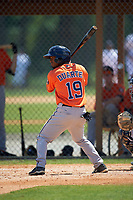 Houston Astros Osvaldo Duarte (19) during a minor league Spring Training game against the Detroit Tigers on March 30, 2016 at Tigertown in Lakeland, Florida.  (Mike Janes/Four Seam Images)