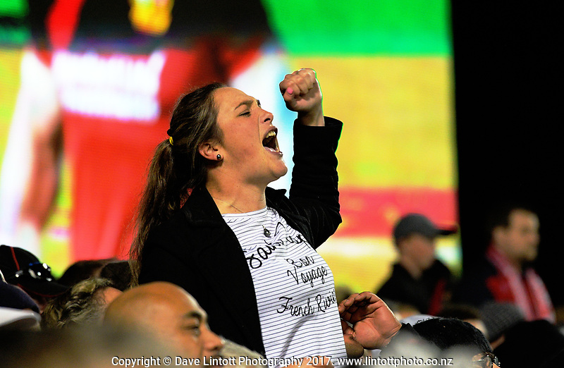 A fan yells support for the Baabaas during the 2017 DHL Lions Series rugby union match between the NZ Provincial Barbarians and British & Irish Lions at Toll Stadium in Whangarei, New Zealand on Saturday, 3 June 2017. Photo: Dave Lintott / lintottphoto.co.nz
