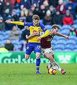 2nd February 2019, Turf Moor, Burnley, England; EPL Premier League football, Burnley versus Southampton; Charlie Taylor of Burnley and Stuart Armstrong of Southampton challenge for the ball