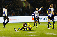 Andre Ayew of Swansea City shows his disappointment after failing to score with a header during the Sky Bet Championship match between Sheffield Wednesday and Swansea City at Hillsborough Stadium, Sheffield, England, UK. Saturday 09 November 2019