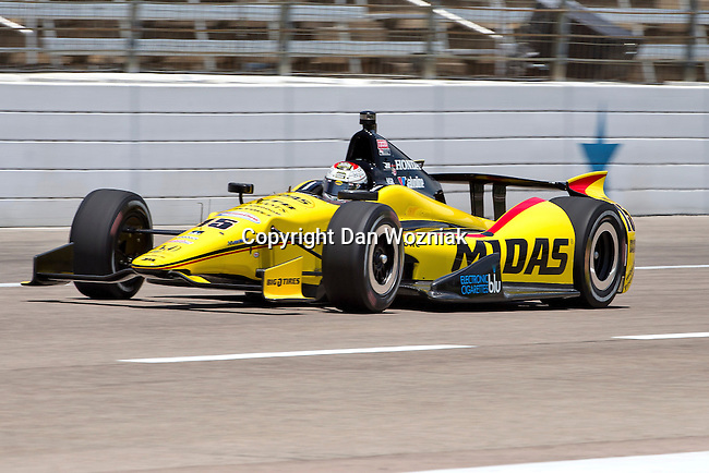 Graham Rahal (15) driver for Rahal Letterman Lanigan Racing in action during qualifying for the IZOD Indycar Firestone 550 race at Texas Motor Speedway in Fort Worth,Texas.