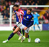 Lincoln City's Bruno Andrade vies for possession with Crewe Alexandra's George Ray<br /> <br /> Photographer Andrew Vaughan/CameraSport<br /> <br /> The EFL Sky Bet League Two - Lincoln City v Crewe Alexandra - Saturday 6th October 2018 - Sincil Bank - Lincoln<br /> <br /> World Copyright &copy; 2018 CameraSport. All rights reserved. 43 Linden Ave. Countesthorpe. Leicester. England. LE8 5PG - Tel: +44 (0) 116 277 4147 - admin@camerasport.com - www.camerasport.com