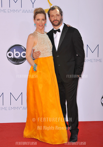 Leslie Mann & husband Judd Apatow at the 64th Primetime Emmy Awards at the Nokia Theatre LA Live..September 23, 2012  Los Angeles, CA.Picture: Paul Smith / Featureflash