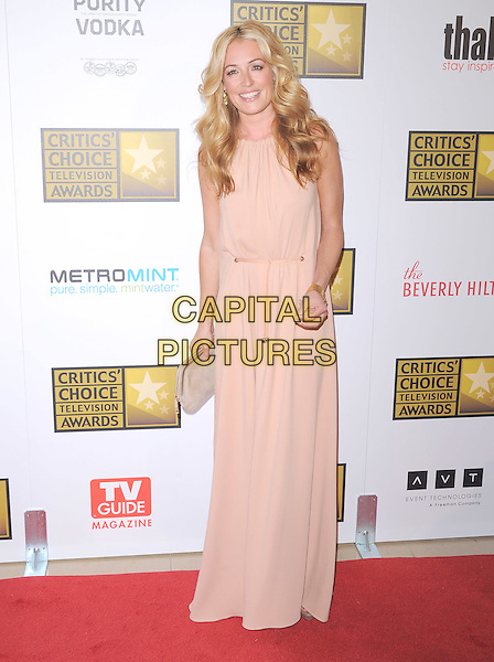 Cat Deeley.The 2nd Annual Critics' Choice Television Awards  held at The Beverly Hilton in Beverly Hills, California, USA..June 18th, 2012.full length dress maxi pink cream beige clutch bag  .CAP/RKE/DVS.©DVS/RockinExposures/Capital Pictures.