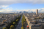 Downtown Paris from the top of the Arc de Triomphe, Paris, France
