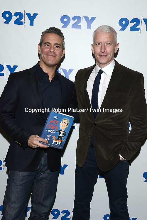 Andy Cohen and Anderson Cooper at the 92nd Street Y for a  Conversation with Andy Cohen and  Anderson Cooper in New York City on November 14, 2014.<br /> <br /> photo by Robin Platzer/Twin Images<br />  <br /> phone number 212-935-0770